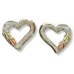 Sterling Silver Heart Earrings with Black Hills Gold Leaves