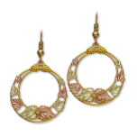Black Hills Gold Circular Dangle Earrings for Pierced Ears