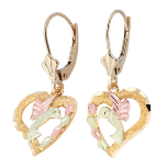Black Hills Gold Hummingbird Heart Earrings with Black Hills Gold Leaves, leverback