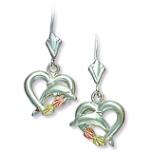 Sterling Silver Heart Earrings with Dolphin and Black Hills Gold Leaves