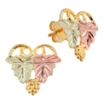 Classic Black Hills Gold Earrings with Leaves, for Pierced Ears