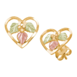 Black Hills Gold Heart Earrings with Black Hills Gold Leaves