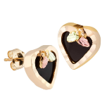 Black Hills Gold Heart Earrings with Onyx