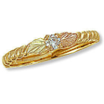 Ladies Black Hills Gold Ring with Diamond and Black Hills Gold leaves
