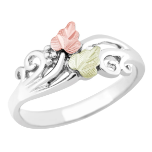Sterling Silver Ladies Ring with Black Hills Gold Leaves