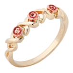 Ladies Black Hills Gold Ring with Roses