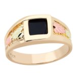 Men's Black Hills Gold Onyx Ring