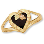 Black Hills Gold Ladies Onyx Ring with Onyx Heart