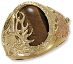 Men's Black Hills Gold Ring with Elk and Tiger Eye or Onyx Inset