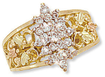 Ladies Black Hills Gold Right Hand Ring, Pointer Ring with Diamond Cluster
