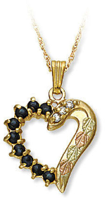 Black Hills Gold Necklace and Heart Pendant with Diamonds and Genuine Sapphires