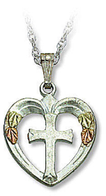 Cross in Heart Pendant, in Sterling Silver