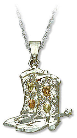 Sterling Silver Cowboy Boot Pendant with Black Hills Gold Leaves