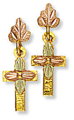 Black Hills Gold Cross Earrings with Leaves for Pierced Ears