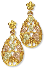 Black Hills Gold Earrings with Leaves and Grape Clusters