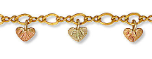 Black Hills Gold Ankle Bracelet with Heart-shaped  Leaves