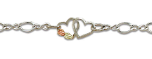 Sterling Silver Ankle Bracelet with dual Hearts and Leaves