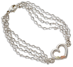 Sterling Silver 4-chain Heart Bracelet with Black Hills Gold Leaves