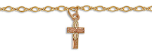 Black Hills Gold Cross Ankle Bracelet with Leaves