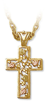 Mens Black Hills Gold Cross Pendant