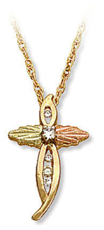 Black Hills Gold Cross Pendant with Diamonds