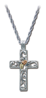 Sterling Silver Cross Pendant with Black Hills Gold Leaves