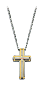 Mens Stainless Steel Cross Pendant with Black Hills Gold leaves