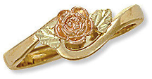 Ladies Black Hills Gold Rose Gold Ring with Leaves