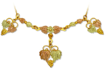 Black Hills Gold Necklace with three Multi-leaf Pendants