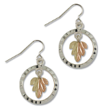 Sterling Silver Ladies Earrings with Split Black Hills Gold Leaves