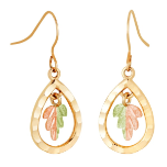 Black Hills Gold Teardrop Earrings with Leaves