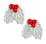 Sterling Silver Earrings with Holly Berries