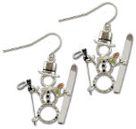 Sterling Silver Snowman Earrings with Skis with Black Hills Gold Leaves