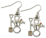 Sterling Silver Snowman Earrings with Snow Shovel and Black Hills Gold Leaves