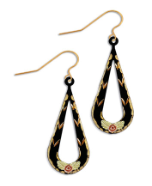 Black Hills Gold Black Enamel Earrings