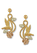 Black Hills Gold Hummingbird Earrings with Black Hills Gold Leaves
