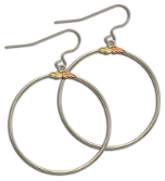 Sterling Silver Big Hoop Earrings with Black Hills Gold Leaves