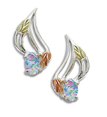 Sterling Black Hills Silver Opal Earrings
