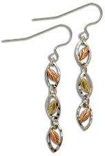 Sterling Silver Swinging Tiered Earrings with Black Hills Gold Leaves