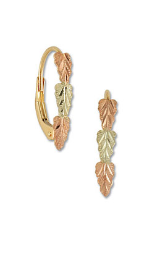 Black Hills Gold Leverback Earrings with Leaves