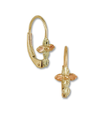 Black Hills Gold Leverback Cross Earrings with Leaves