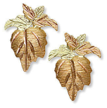 Black Hills Gold Earrings with Leaves for Pierced Ears
