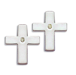 EE. Sterling Silver Diamond Cross Earrings