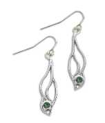 Sterling Silver Earrings with Green Montana Sapphire