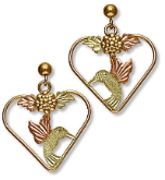 Black Hills Gold Hummingbird Heart Earrings with Black Hills Gold Leaves