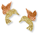 Black Hills Gold Hummingbird Earrings, for Pierced Ears