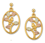 M. Black Hills Gold VERMEIL Earrings with Bird in Tree and Leaves, for Pierced Ears