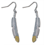 Sterling Black Hills Silver Feather Earrings with Black Hills Gold Feather Tip