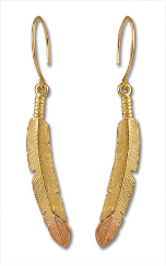 Black Hills Gold Feather Earrings
