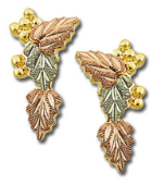 Black Hills Gold Earrings with Leaves, for Pierced Ears